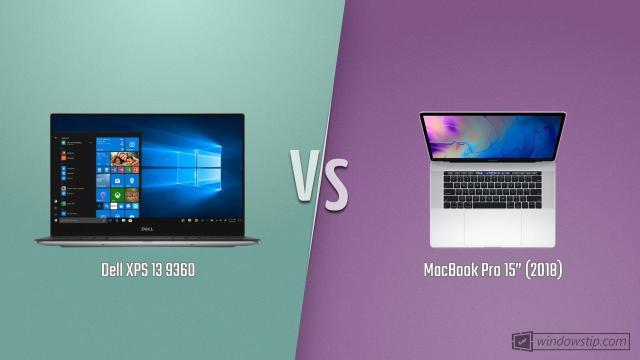 "Dell XPS 13 9360 vs. MacBook Pro 15"" (2018) | WindowsTip"