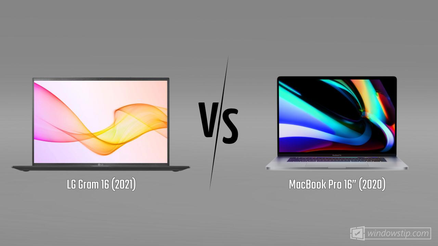 "LG Gram 16 (2021) vs. MacBook Pro 16"" (2020)"