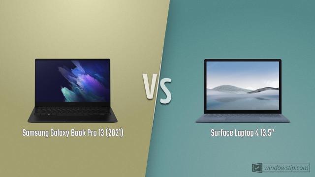 "Samsung Galaxy Book Pro 13 (2021) vs. Surface Laptop 4 13.5"""
