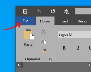 Microsoft Office > File menu