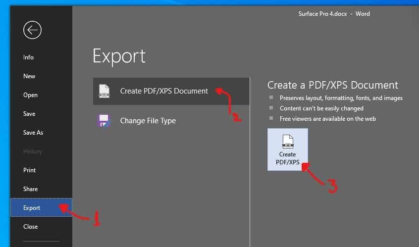 Microsoft Word Export to PDF